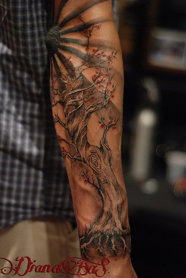 Tree tattoo..sleeve in progress by Dia https://www.facebook.com/pages/BAStattoo-GALLERYart-caffe/124021327663799