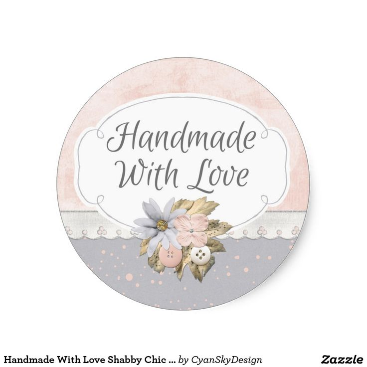 Handmade with love shabby chic rustic floral pink classic round sticker