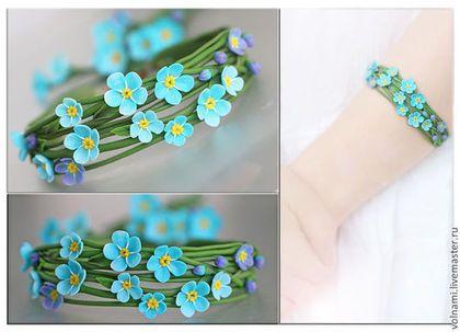 """""""Незабудки"""" браслет - бирюзовый,браслет,цветочный,цветы из полимерной глины"""