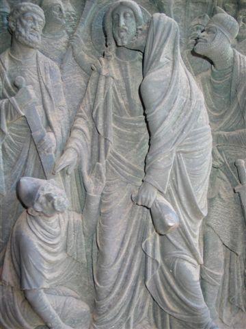 Judas betraying Jesus, German bas relief.jpg