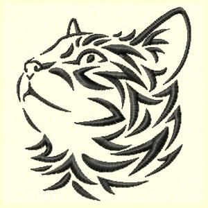 Cats Tribal Cat Machine Embroidery Design Set