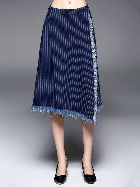 Shop Culottes Pants - Blue Stripes Cotton Casual Culottes Pant online. Discover unique designers fashion at StyleWe.com.