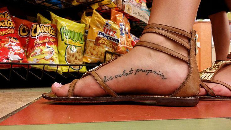 "Foot arch tattoo   A woman has a tattoo reading ""alis volat …   Flickr"