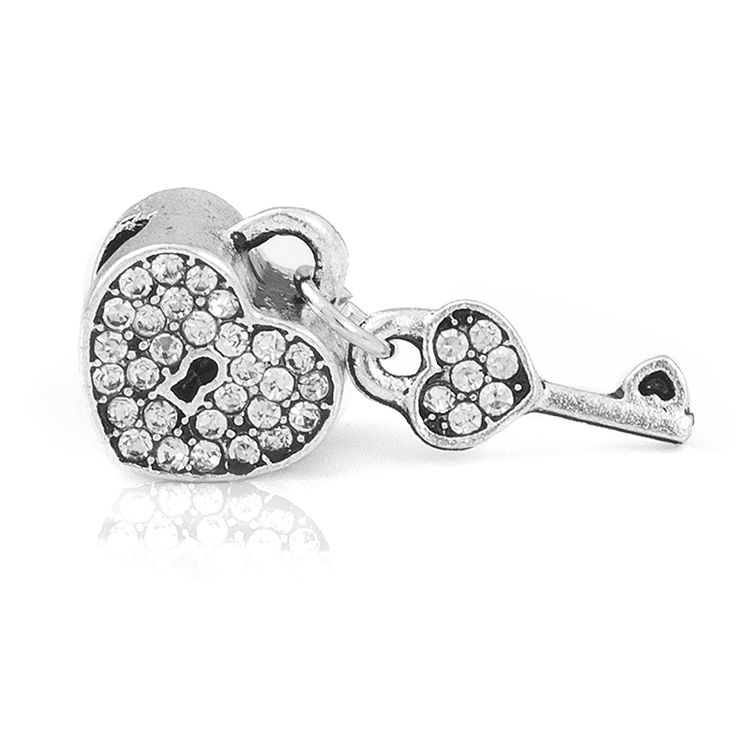 Free Shipping 1PC Crystal Heart Lock with Key Love Beads Charms fit European Pandora Style Charm Bracelets and Necklaces