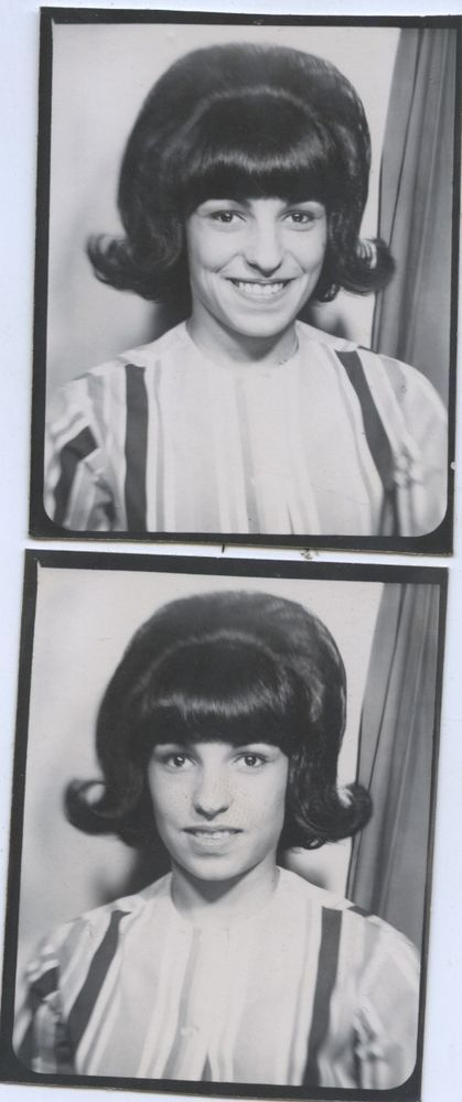 Vintage photo booth portrait. YOUNG WOMAN W/. FLIP HAIR STYLE.