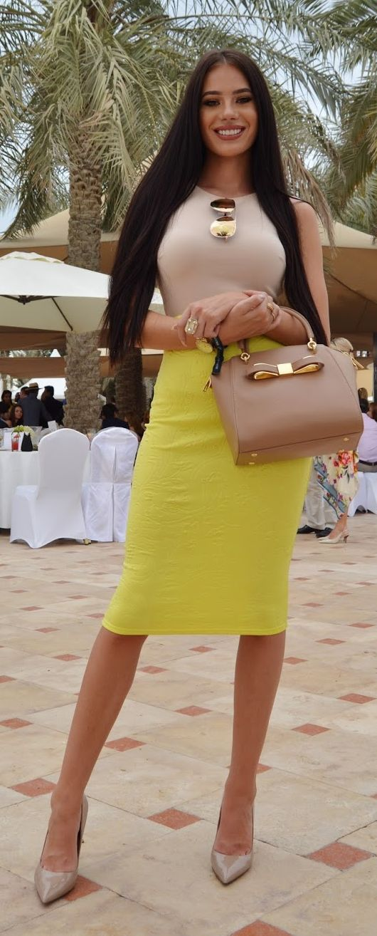 Spring Street Style Chic / karen cox.  Yellow Skirt Outfit Idea