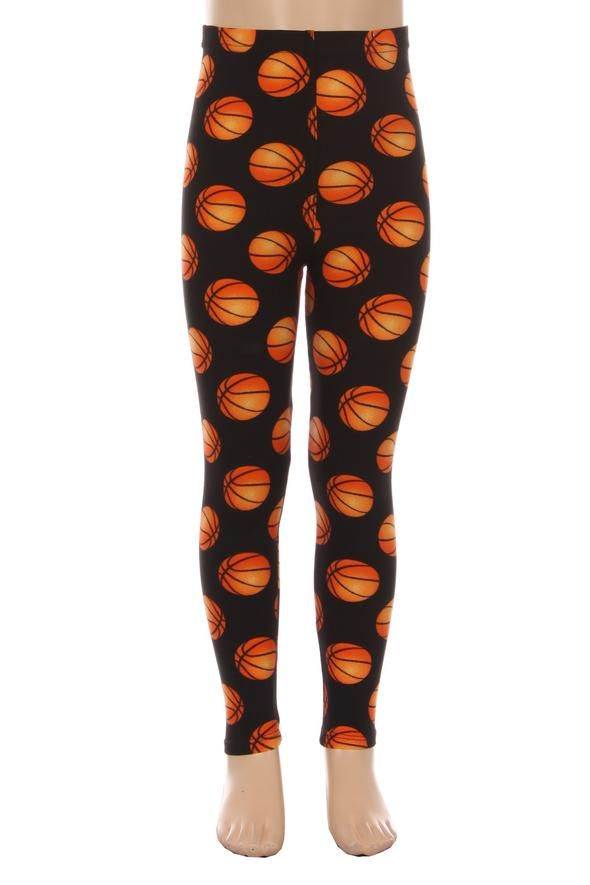 Girl S Basketballs Leggings Black Orange S L Momme And More Girls In Leggings Girls Leggings Basketball Leggings
