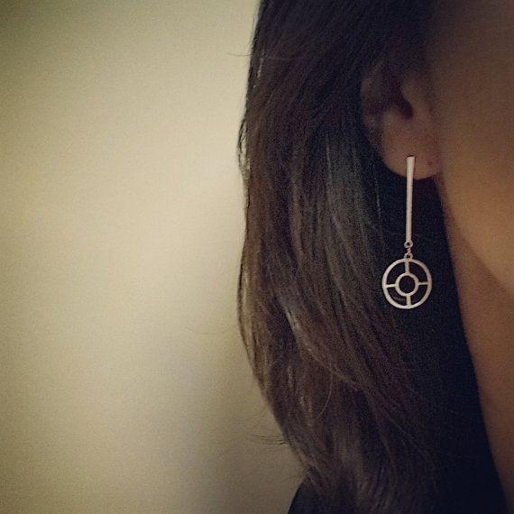 Oriental Modern Silver Dangle Earrings by HesisJewelry on Etsy