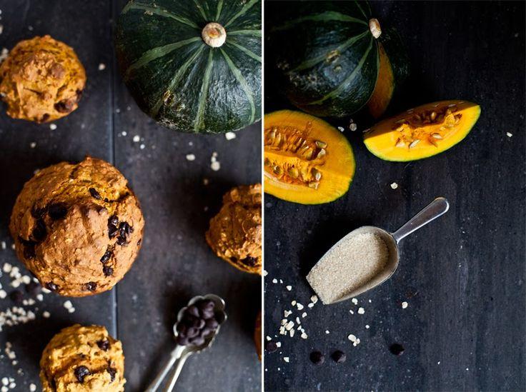 Muffins à la courge musquée et au chocolat.