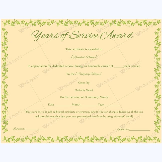 service awards certificates template