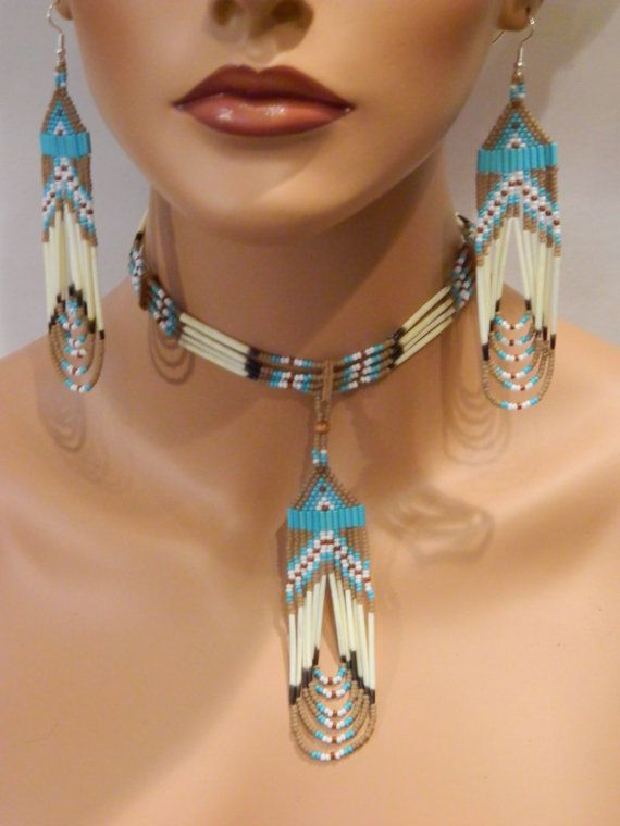 EXCLUSIVE Native American Handmade Quill and Beaded Necklace and Earring Set in Tan and Turquoise