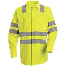Red Kap Hi-Visibility Green Long Sleeve Shirt - Class 3 Level 2 X Striping SS14SB | Hi Vis Safety Direct will beat any other price , we are #1 in Hi Visibility Items .