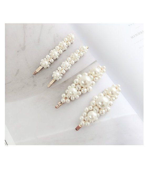 b661542f6 WHITE COLLECTION-Rococo Flora faux pearls hair clip, bridal Beaded boho  chic wedding ornament victor