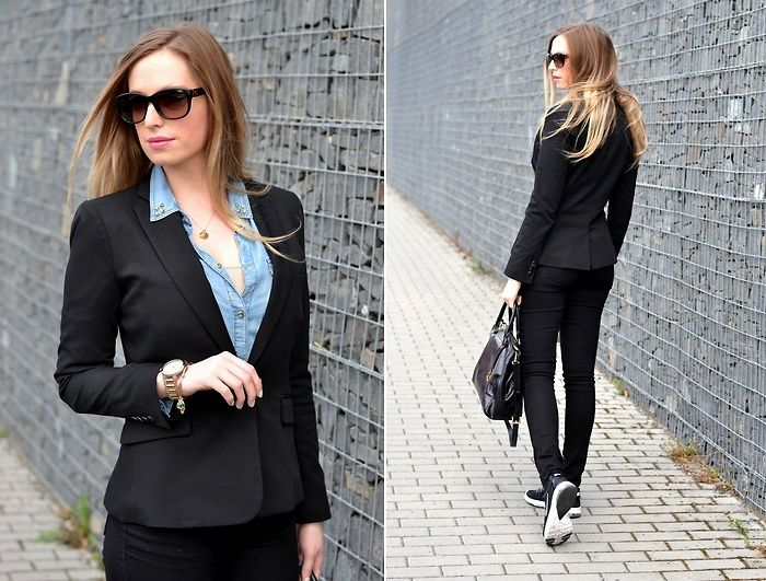 Style Cookbook by Simone: {outfit} black blazer, nike airmax fusion