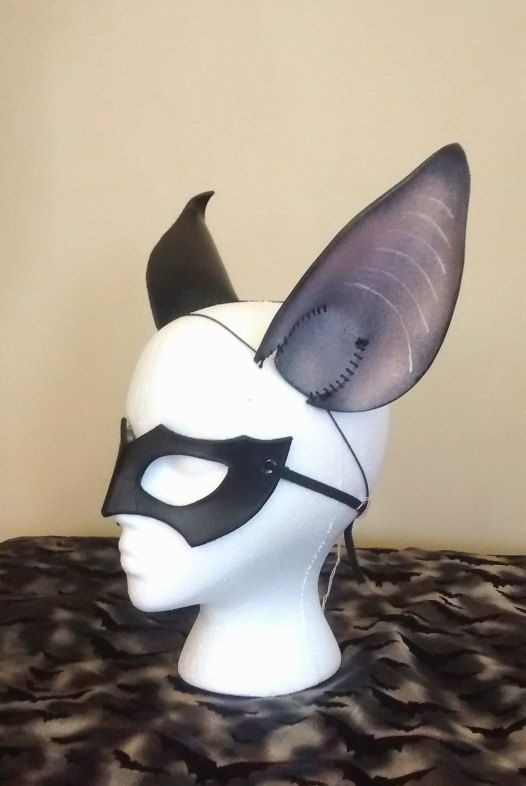 Bat Ears and Mask Set Leather Black Halloween Costume by TheOddCog