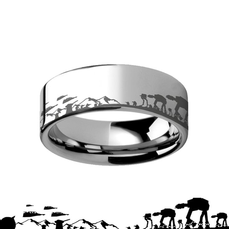 #StarWars Ring Hoth Battle Alliance Galactic Imperial Invasion Tungsten Engraved Ring - 4mm - 12mm