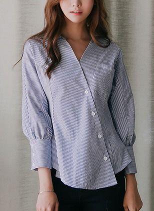 Casual Katoen V-nek 3/4 mouwen Overhemd (1645139912)