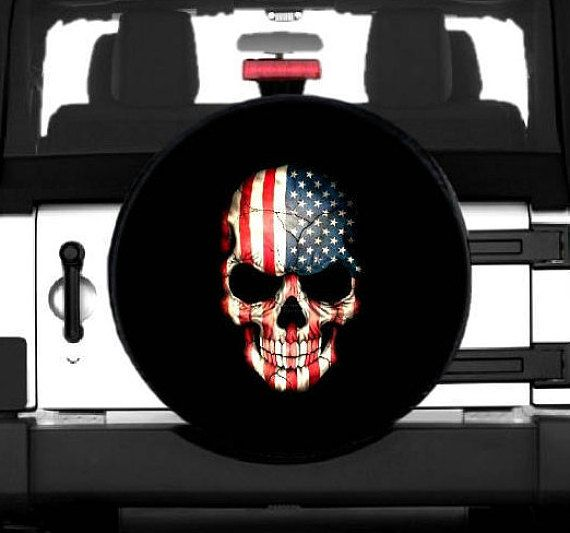 Black and White Flag skull Thin Blue Line spare tire cover.