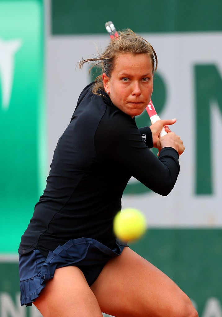 Barbora Zahlavova Strycova of Czech Republic returns a shot during her women's singles match against Heather Watson of Great Britain on day three of the French Open at Roland Garros on May 27, 2014 in Paris, France.