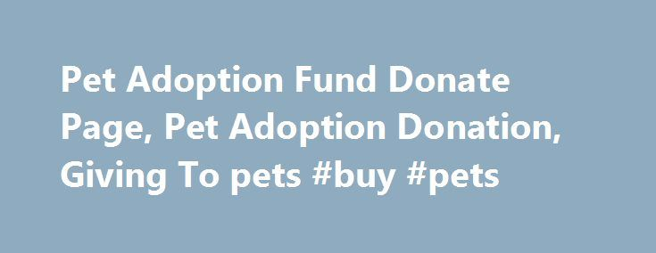 Pet Adoption Fund Donate Page, Pet Adoption Donation, Giving To pets #buy #pets http://pet.remmont.com/pet-adoption-fund-donate-page-pet-adoption-donation-giving-to-pets-buy-pets/  Pet Adoption Fund is a non-profit organization, with a 501 (c) status. We rely solely on donations. Your generosity is what keeps us alive, and able to rescue and care for many abused and abandoned dogs and cats. In most cases, extensive medical treatments are required in addition to the routine spay-neuter, vet…
