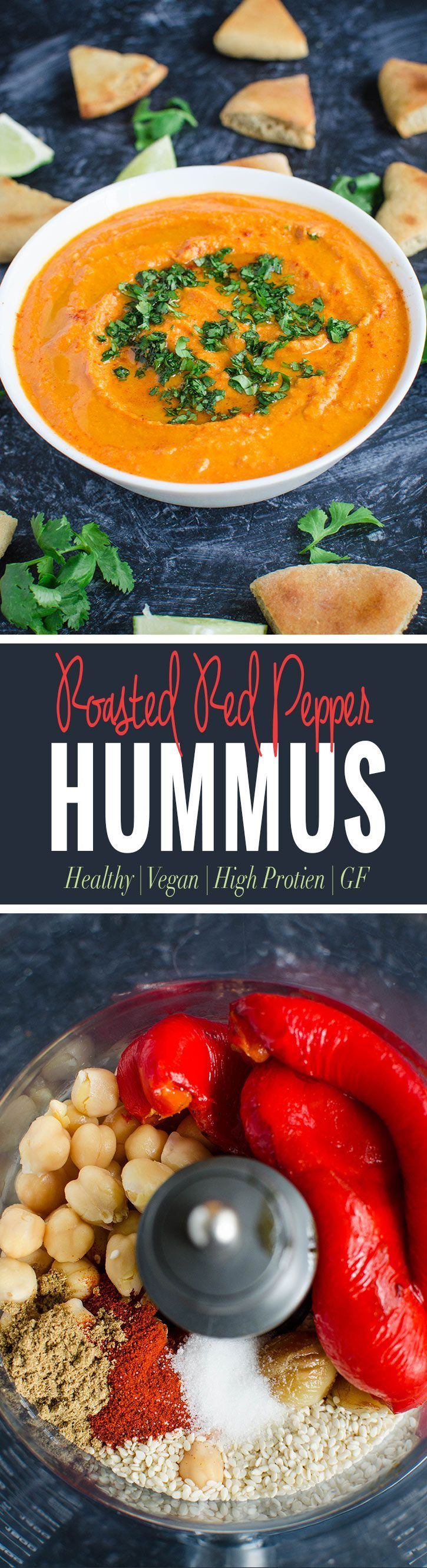 Roasted red pepper hummus - amazingly delicious, creamy and healthy hummus perfect for snacks with pita chips or as a side to any Mediterranean dish. via @watchwhatueat