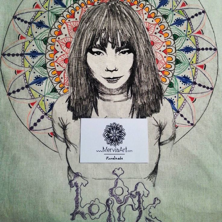 check @merviaart's photo on instagram. Hand painted on cotton bag, another Björk & Mandala combination. Enjoy! MerviaArt
