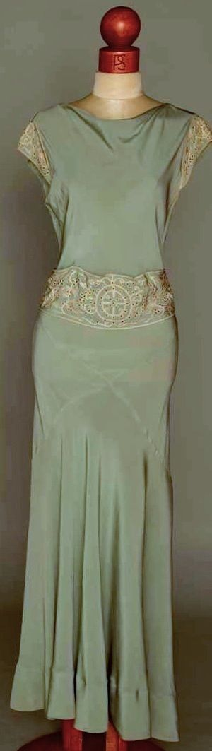 1930s Summer gown. Powder blue faille, waistband & cap sleeves w/ white tambour embroidery & cut-work