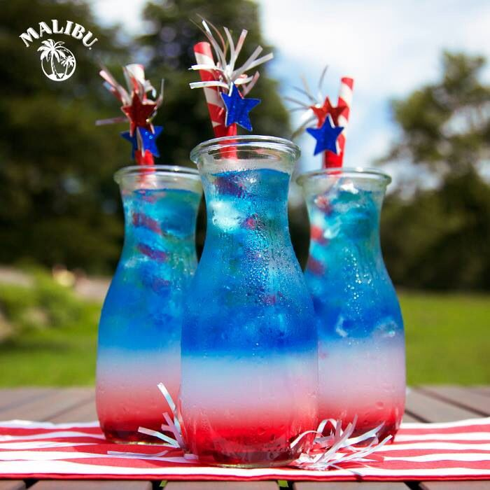 Happy 4th of July! Today we're celebrating with this festive cocktail, the Malibu American Dream! Malibu Rum  INGREDIENTS  1 Part Grenadine Syrup 1 Part Malibu Rum 2 Parts Lemonade 3 Parts Blue Raspberry Vodka  HOW TO MIX IT  Fill a fun, festive glass with ice. Pour in grenadine syrup. Combine Malibu Rum with lemonade and layer over grenadine. Slowly add the blue raspberry vodka as the third layer. Sip through a straw, enjoy responsibly!