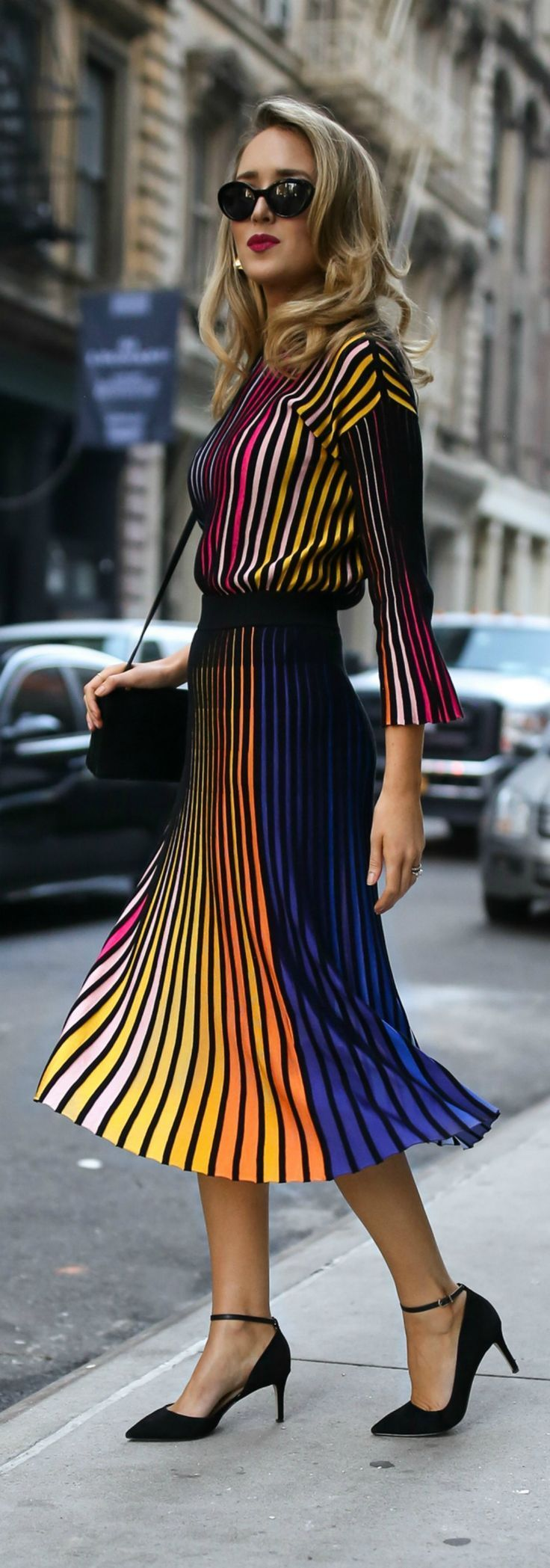 RAINBOW DRESSING //  Striped multicolored long sleeve sweater, coordinating striped pleated multicolored midi skirt, gold sculptural earrings and black ankle-strap pumps {Kenzo, YSL, fall fashion, colorful dressing, midi skirt, classic dressing, classy style}