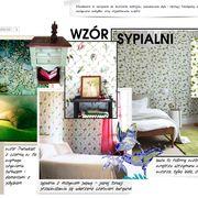 wzór tapety staje się dla projektantów inspiracją do stworzenia unikalnego wnętrza sypialni, wystarczy niewiele dodatkow, konsekwentna kolorystyka i efekt murowany