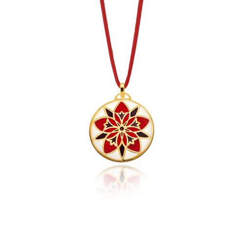 """Pendant Love Charm 2015 """"Centaurea""""in silver gold plated with a polished finish and red enamel."""