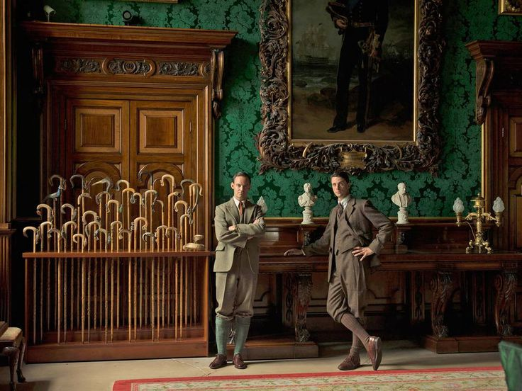 Downton Abbey Christmas Special 2014. The Dining Room at Alnwick Castle. Photo by James McDonald for The Word of Interiors magazine. Pure Silk damask in forest green, matched to a remaining house fragment for the restoration of the State Dining Room walling and 32 Chippendale matching dining chairs. @Alnwick Castle #walling #chairs #furniture #chippendale #silk #damask #green #weaving #fabric #downtonabbey #brancastercastle www.humphriesweaving.co.uk