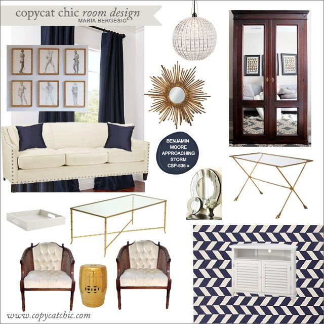 Copy Cat Chic Room Design Elegant Navy Gold Brass Cream