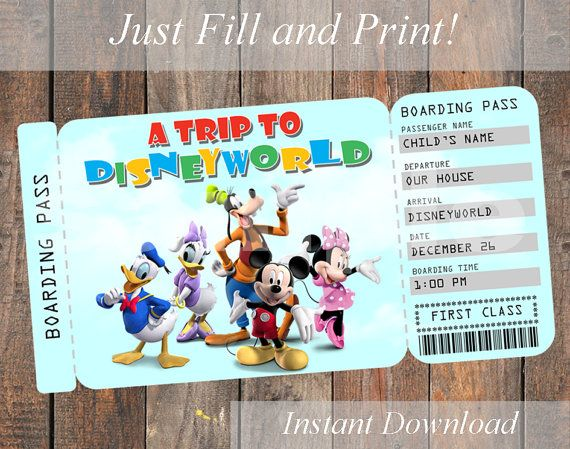 Printable Ticket To Disney Disneyworld Disneyland