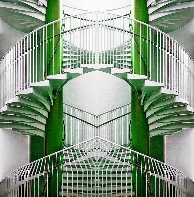 Art Deco Green & White Stairs #artdecointeriors