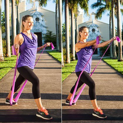 Grab a resistance band and do these 8 multitasking moves anytime, anywhere.