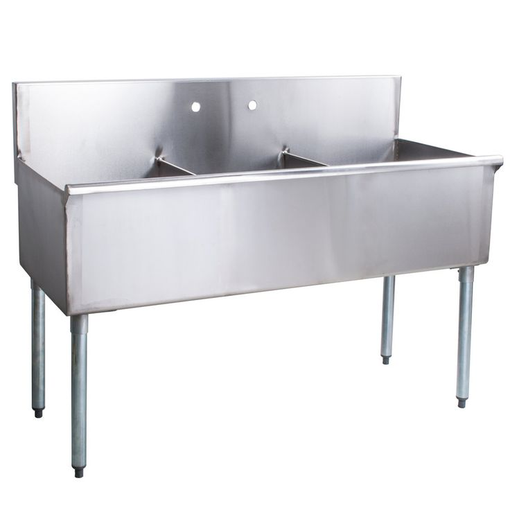 "Regency 54"" 16-Gauge Stainless Steel Three Compartment Commercial Sink without Drainboard - 18"" x 21"" x 14"" Bowls"