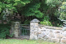 Extensive stone work is featured throughout this Yarram garden.