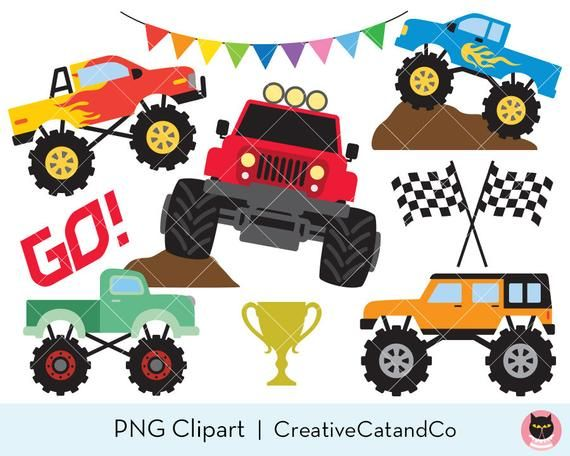 Monster Truck Clipart Big Truck Clip Art Car Racing Clipart Etsy Monster Trucks Clip Art Car Art