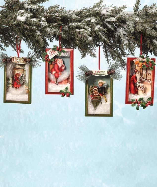 Vintage Christmas Craft Ideas Part - 49: Vintage Christmas Shadowbox Ornaments From TheHolidayBarn.com