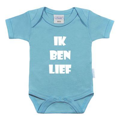 Rompertje bedrukken met tekst (baby blauw)
