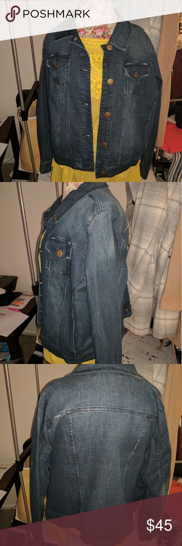 Plus size jean denim jacket NWT Venezia denim jacket from Lane Bryant.  Distressed on pockets and fading.  Every day essential can dress up or down an outfit. Venezia Jackets & Coats Jean Jackets