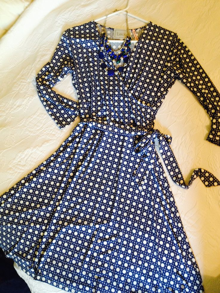 Stitch Fix dress This is soo me - love wrap dresses (so long as they are petite length! or can be hemmed easily!).  Very flattering on my body type.  And also love the necklace - color, size...