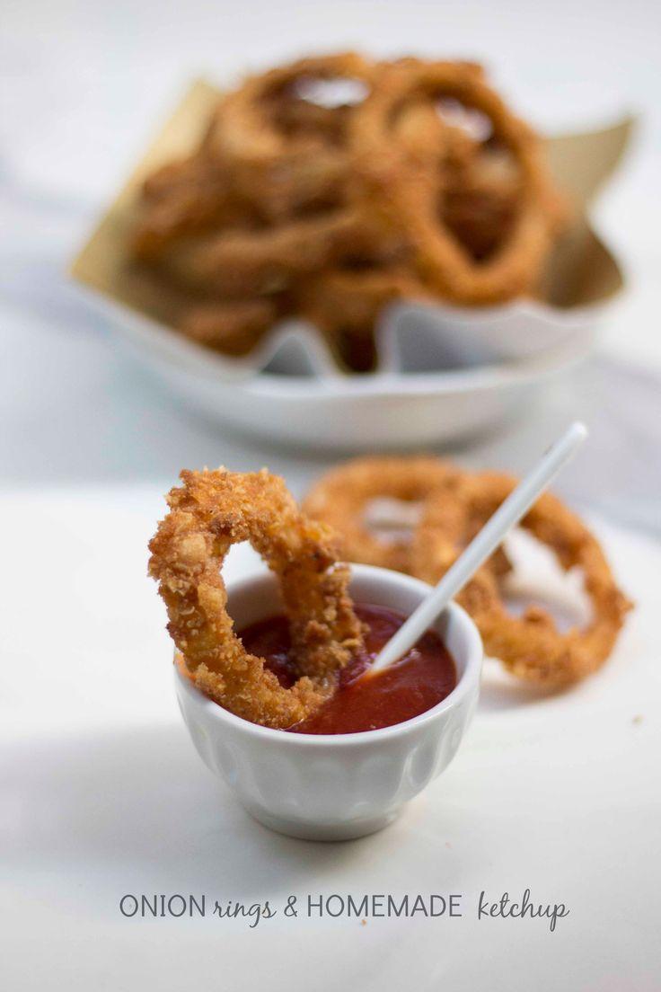 Anelli di cipolla fritti e ketchup homemade - Onion rings and home made ketchup