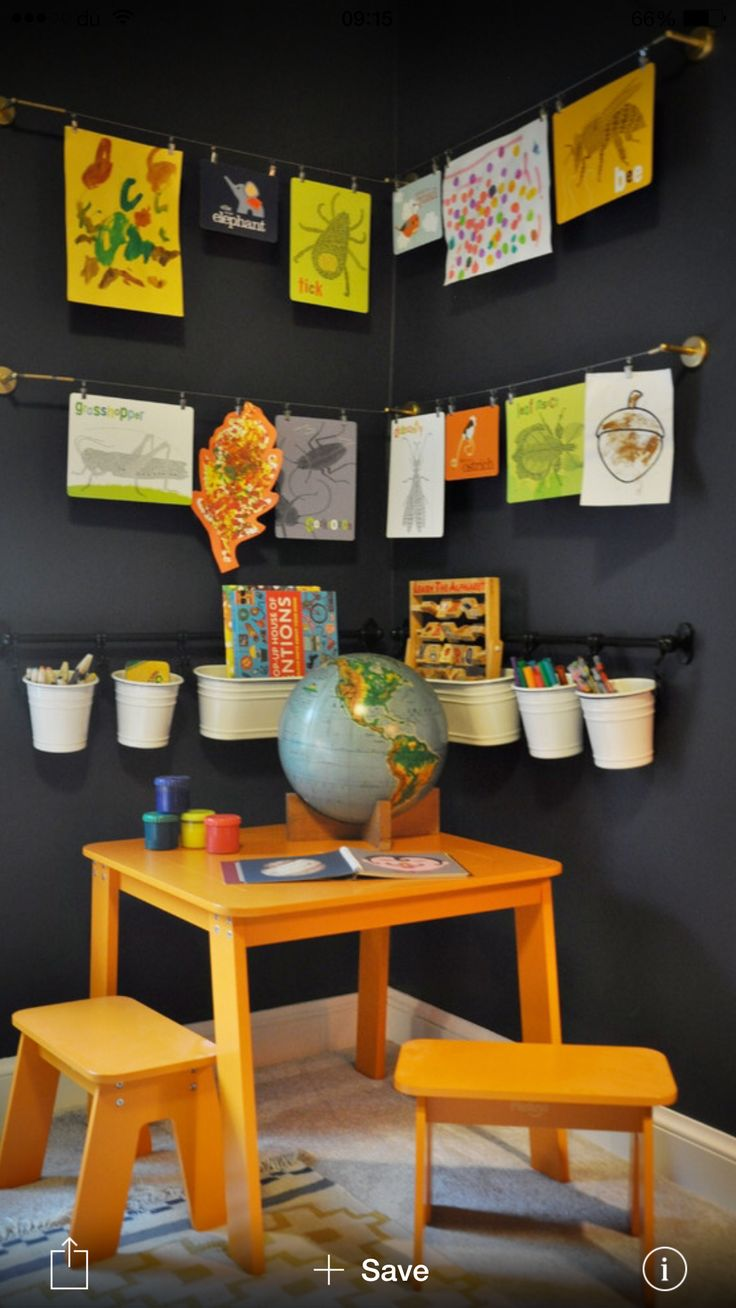This is how to create a creative corner for little artists! Showcase kids artworks