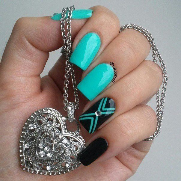 Black and turquoise nails, Bold nails, Contrast nails, Evening nails, Geometric nails, Mint and black nails, Mint nails, Nails with rhinestones