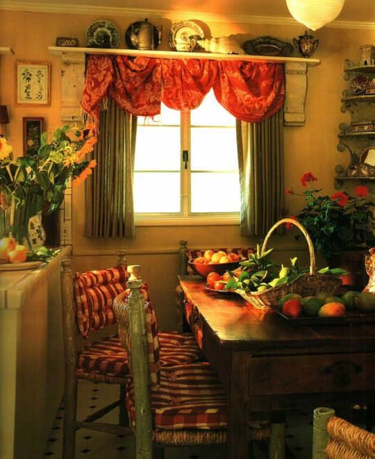 Room of the Day ~ red and white gingham seat covers, draped scarf at window in this country kitchen