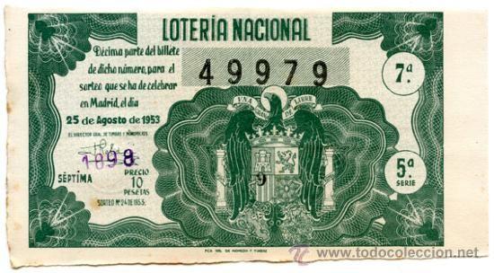 Décimo *LOTERÍA NACIONAL Sorteo 24* año 1953 - Nº 49979 -- Admon. Lotería Nº 27 de Barcelona