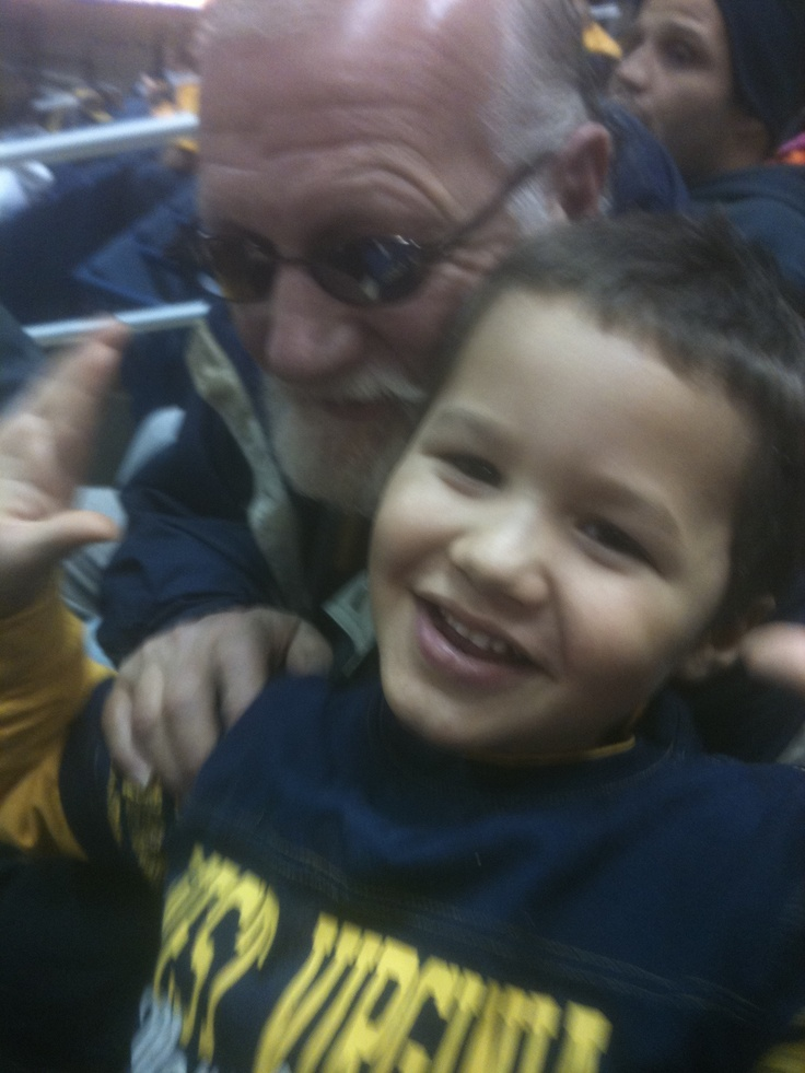 Phoenix at his 1st WVU basketball game with my dad
