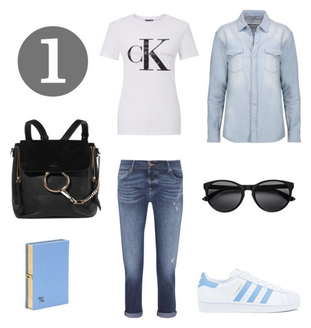 """""""Denim on Denim 1"""" by maimmelbourne on Polyvore featuring 7 For All Mankind, IRO, adidas, Calvin Klein, Chloé and Olympia Le-Tan"""